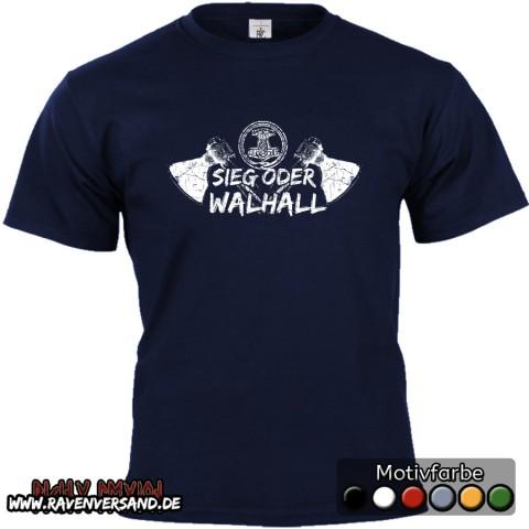 Sieg oder Walhall T-shirt blau