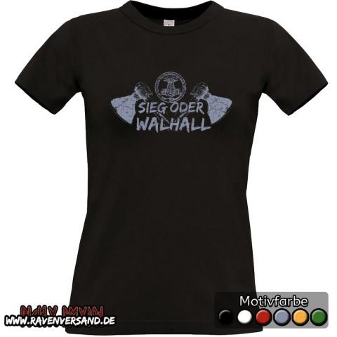 Sieg oder Walhall T-shirt schwarz Frauen